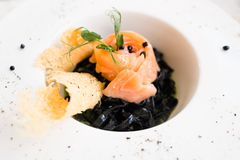 Gourmet breakfast meal black pasta nero. Concept. luxury food. delicacy recipe royalty free stock photos