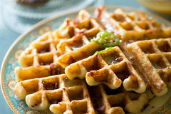 Gourmet breakfast of savory waffles Royalty Free Stock Photo