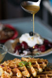 Gourmet breakfast of savory waffles Stock Photo