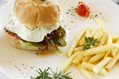 Gourmet burger and chips in a garnsihed plate Royalty Free Stock Photos