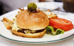 Gourmet Burger with Lettuce and Tomato Royalty Free Stock Photo