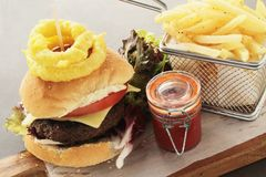 Gourmet burger meal Stock Photo
