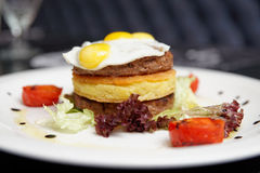 Gourmet burger with potato patty and omelette Royalty Free Stock Photos