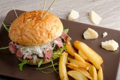 Gourmet burger with roast beef Royalty Free Stock Images
