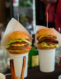 Gourmet Burger Slider Appetizers Stock Photos