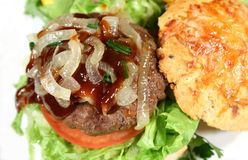 Gourmet Burger With Steak Sauce Royalty Free Stock Photo