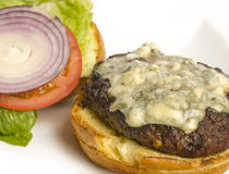 Gourmet cheese burger royalty free stock photography