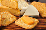 Gourmet cheese and crackers Stock Photos