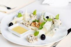 Gourmet Cheese Platter Appetizer Stock Photo