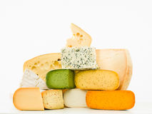 Gourmet cheeses mixed group Royalty Free Stock Images