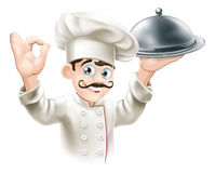 Gourmet chef illustration. Illustration of a gourmet chef holding  silver platter and giving an okay sign Royalty Free Stock Images