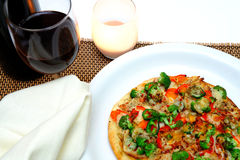 Gourmet Chicken And Veggie Pizza. Grilled teriyaki chicken with red bell pepper, garlic, mild jalapeno pepper, broccoli, tomato, sharp cheddar and fresh parmesan Stock Images