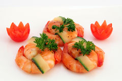 Gourmet chinese food - broiled king tiger prawns on white stock image