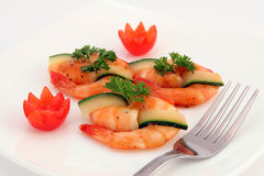 Gourmet chinese sushi food - broiled king tiger prawns on white royalty free stock photo