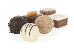 Gourmet chocolate bonbons isolated Stock Photo