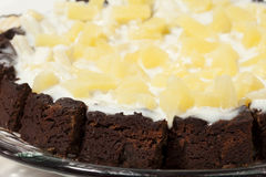 Gourmet Chocolate Cake with Pineapple. And Light Cream Icing stock images