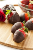 Gourmet Chocolate Covered Strawberries Stock Photo