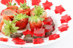 Gourmet Chocolate Covered Strawberries. For Valentine's Day Stock Photos