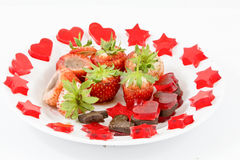 Gourmet Chocolate Covered Strawberries. For Valentine's Day Royalty Free Stock Photo