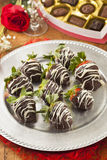 Gourmet Chocolate Covered Strawberries. For Valentine's Day royalty free stock images