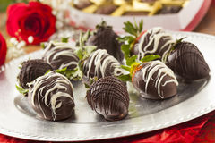 Gourmet Chocolate Covered Strawberries Stock Images
