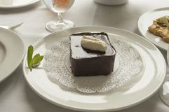 The gourmet chocolate mousse cake royalty free stock photos