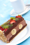 Gourmet- Chocolate Mousse-Cream Pie with Fruits Royalty Free Stock Photo