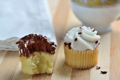 Gourmet Chocolate and Vanilla Cupcakes Royalty Free Stock Photo