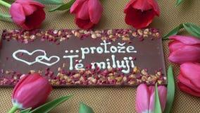 Gourmet- choklader och röda tulpan för valentin dag lager videofilmer