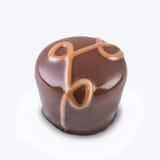Gourmet- chokladtryffel på vit Arkivfoton