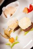 Gourmet coffee blanc mange with gooseberry Royalty Free Stock Photos