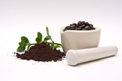 Gourmet Coffee and grind. A mortar with freshly roasted coffee beans and a pile of coffee grind with some leaves in the back isolated on a white background stock photo