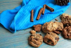 gourmet cookies on a blue napkin. stock photography