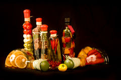 Gourmet Cooking Chef Peppers Seasonings and Spices. Isolated on a black background Stock Image