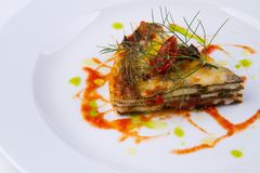Gourmet course in a restaurant. Gourmet courses in a traditional italian farmhouse restaurant Stock Photos