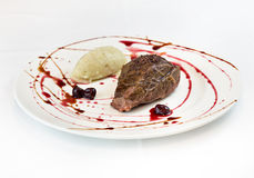 Gourmet cuisine, fillet with potatoes and sour cherries. High quality food restaurant stock images