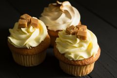 Gourmet cup cakes on textured background close up photo with selective focus royalty free stock images