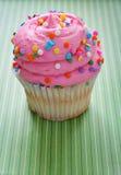 Gourmet cupcake on green background vertical Stock Photos