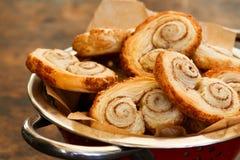 Gourmet danish puff pastries cinnamon puff pastry scrolls palmie Stock Photos