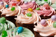 Gourmet decorated cupcakes Royalty Free Stock Photos