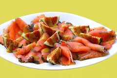 Gourmet dei salmoni affumicati Fotografie Stock Libere da Diritti