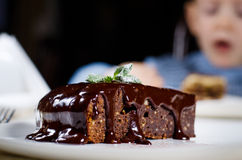 Gourmet Delicious Chocolate Cake on Plate Stock Photo