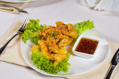 Gourmet Delicious Main Dish with Dipping Sauce Royalty Free Stock Images