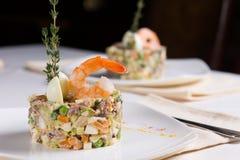 Gourmet Delicious Recipe on White Plate Royalty Free Stock Photos