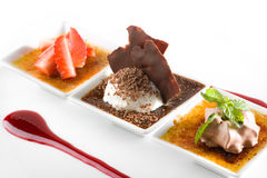 Gourmet dessert. Stylish gourmet dessert of ice cream on fruits Stock Images