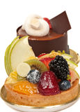 Gourmet Dessert. Gourmet French desserts with chocolate and fruit Royalty Free Stock Photo