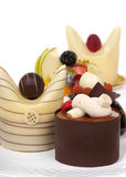 Gourmet Dessert. Gourmet French desserts with chocolate and fruit Royalty Free Stock Photography