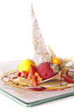 Gourmet dessert. S on a plate isolated Royalty Free Stock Image