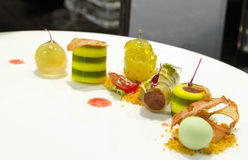 Gourmet dessert with avocado jelly. Dessert made from avocado jelly and ice cream Stock Photos