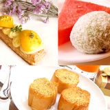 Gourmet dessert collage Stock Photo